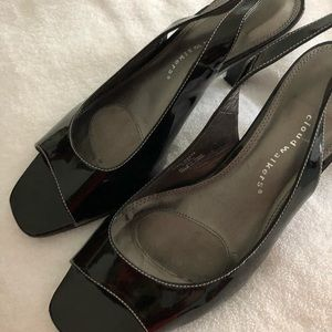 Patent leather open toe shoes 11wide